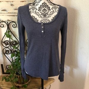 Anthropologie blue/gray sleeve detail top